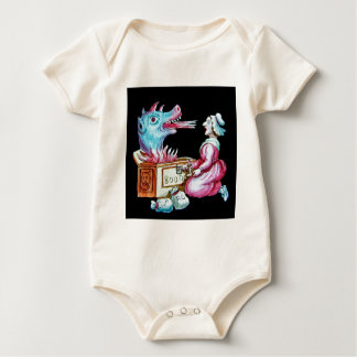 Woman and Fire Breathing Dragon Vintage Rompers