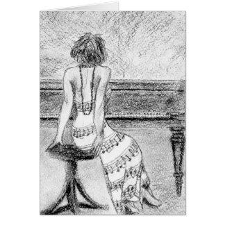 Woman at piano card