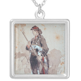 Woman at the Hotel de Ville Silver Plated Necklace