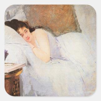 Woman Awakening, 1876 (oil on canvas) Square Sticker