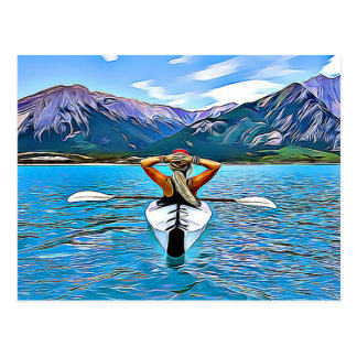 Woman Canoeing or kayaking by the Ocean Postcard