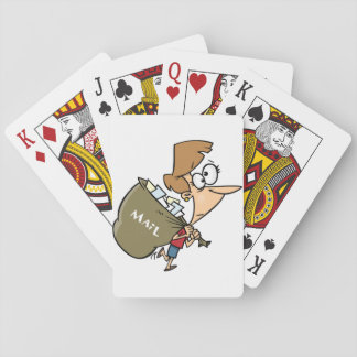 Woman Carrying Mailbag Playing Cards