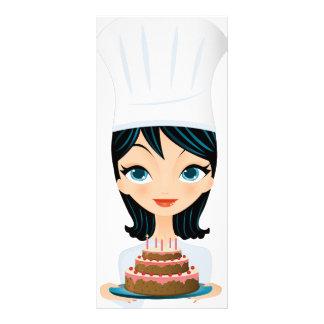 Woman chef Birthday cake Rack Card Design