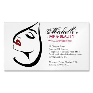 Woman face red lips long eyelashes Makeup Icon Magnetic Business Card