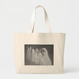 Woman Ghost Costume Trick Or Treat Large Tote Bag