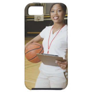 Woman holding basketball and clipbpard, smiling, iPhone 5 case