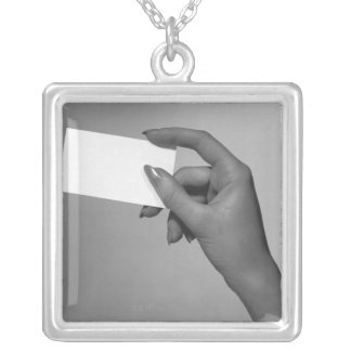 Woman Holding Card Silver Plated Necklace