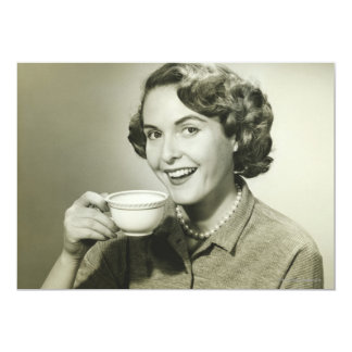 """Woman Holding Cups 5"""" X 7"""" Invitation Card"""