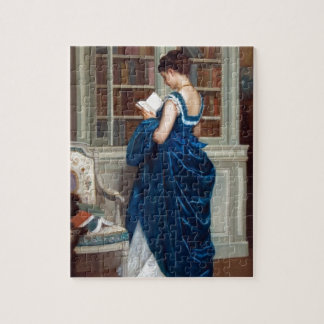 Woman in Blue, reading a Book Jigsaw Puzzle