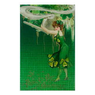 Woman in Green Holding a Pipe Scene Poster