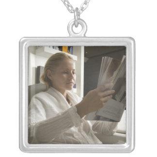 Woman in hairdressing salon pendants