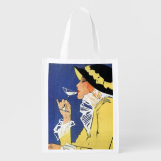 Woman in Yellow having a Drink Reusable Grocery Bag