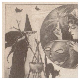 Woman Jack O' Lantern Witch Black Cat Fabric