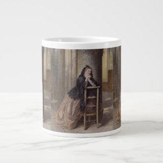 Woman Kneeling in Prayer - Alexandre Couder(1800s) Large Coffee Mug