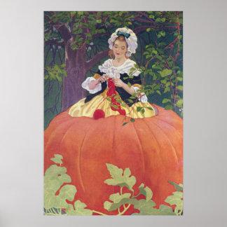 Woman Knitting in Pumpkin Poster