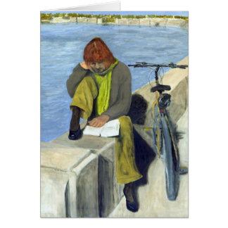 Woman Reading Greeting Cards