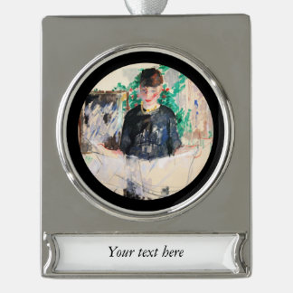 Woman Reading Newspaper Silver Plated Banner Ornament