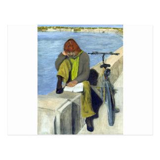 Woman Reading Postcards