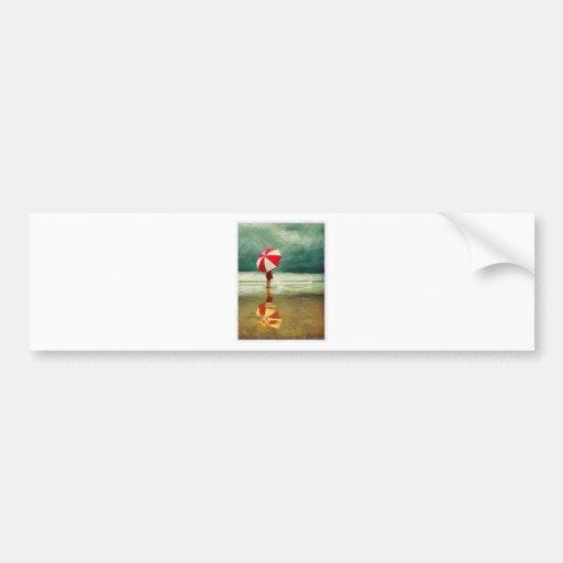 woman romance sand sea umbrella bumper stickers
