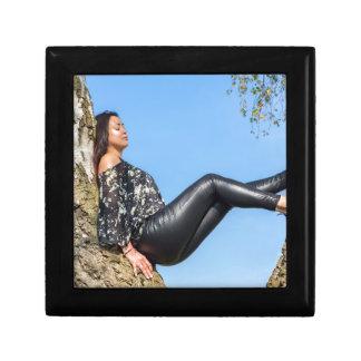 Woman sitting in birch tree with sky.JPG Gift Box