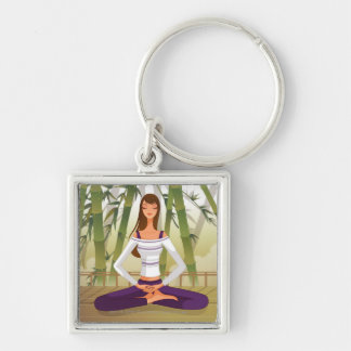 Woman sitting in lotus position, meditating Silver-Colored square key ring