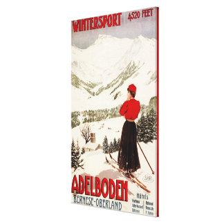 Woman Skier Overlooking Adelboden Poster Canvas Print