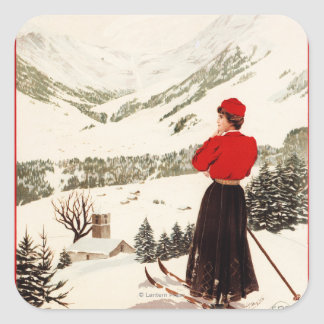 Woman Skier Overlooking Adelboden Poster Square Sticker