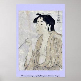 Woman smoking a pipe by Kitagawa, Utamaro Ukiyoe Print