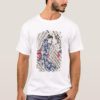 Woman surrounded by Calligraphy (colour woodblock T-Shirt