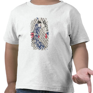 Woman surrounded by Calligraphy (colour woodblock T Shirt