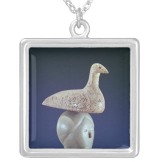Woman thinking of a Loon bird, from Cape Dorset Silver Plated Necklace
