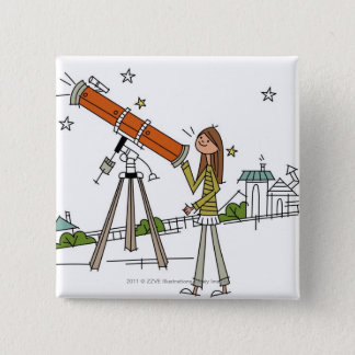 Woman using an astronomy telescope 15 cm square badge