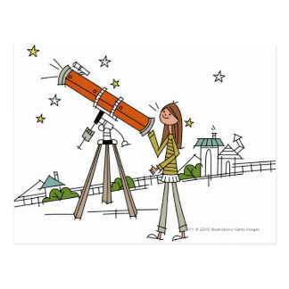 Woman using an astronomy telescope postcard