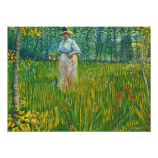 Woman Walking in a Garden by Van Gogh Photo Print