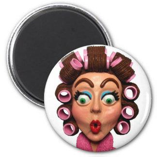 Woman Wearing Curlers Fridge Magnet
