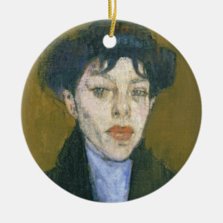 Woman with a Blue Scarf, c.1912 (oil on canvas) Round Ceramic Decoration