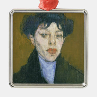 Woman with a Blue Scarf, c.1912 (oil on canvas) Silver-Colored Square Decoration