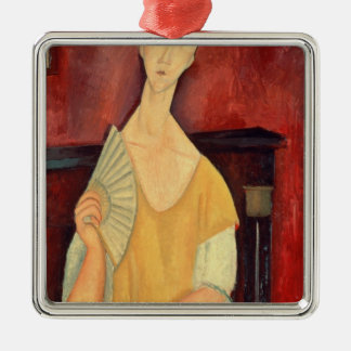 Woman with a Fan  1919 Silver-Colored Square Decoration
