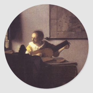 Woman with a Lute Classic Round Sticker
