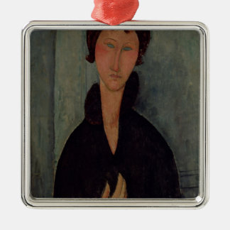 Woman with Blue Eyes, c.1918 Silver-Colored Square Decoration