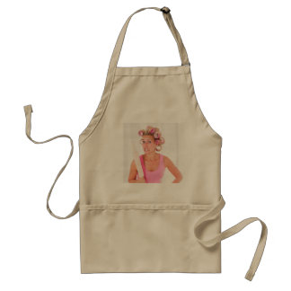 woman with curlers and A rolling pin Standard Apron