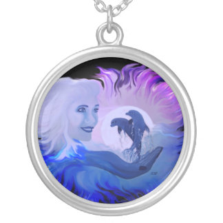 Woman with dolphins in the moonlight silver plated necklace
