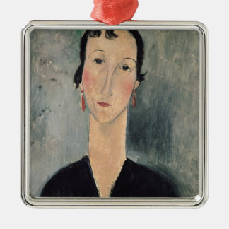 Woman with Earrings Silver-Colored Square Decoration