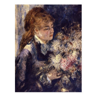 Woman with Lilacs by Pierre Renoir Postcard