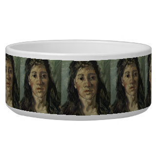Woman with Loose Hair by Vincent Van Gogh Pet Bowl