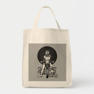 Woman With Motorcycle Tote Bag