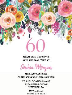 Peach 60th Birthday Invitations Zazzle Co Nz