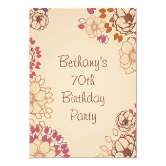 Woman's 70th Birthday Cute Modern Floral 13 Cm X 18 Cm Invitation Card