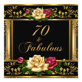 Womans 70th Birthday Party Rose Gold Vintage 13 Cm X 13 Cm Square Invitation Card