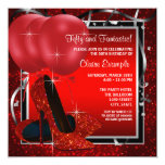 Womans Black and Red High Heels Birthday Party Personalized Announcements